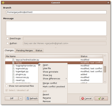 Screenshot of the new working tree context menu, including Merge conflict, Mark conflict resolved, Rename, Remove.